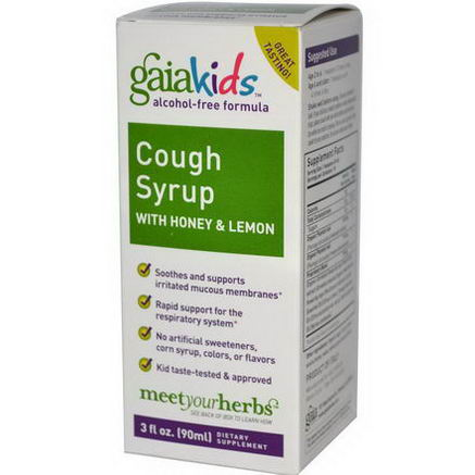 Gaia Herbs, Kids, Cough Syrup with Honey & Lemon, Alcohol-Free Formula, 3 fl oz (90 ml)