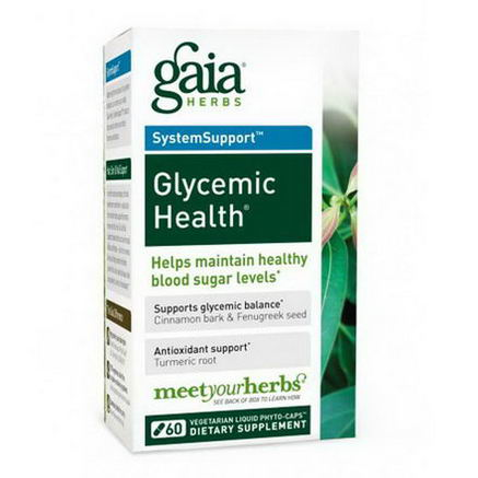 Gaia Herbs, SystemSupport, Glycemic Health, 60 Veggie Liquid-Filled Caps