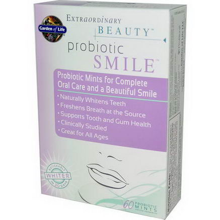 Garden of Life, Extraordinary Beauty, Probiotic Smile, Vanilla Spearmint, 60 Probiotic Mints