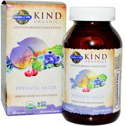 Garden of Life, KIND Organics, Prenatal Multi, 180 Vegan Tablets