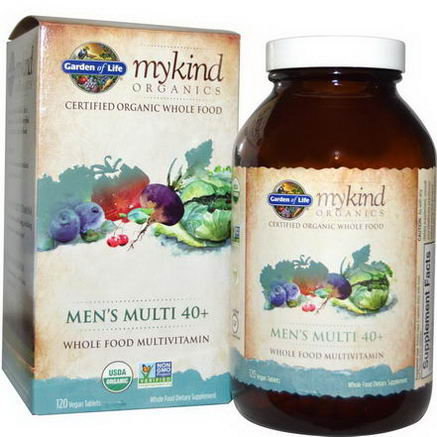 Garden of Life, MyKind Organics, Men's Multi 40+, 120 Vegan Tablets