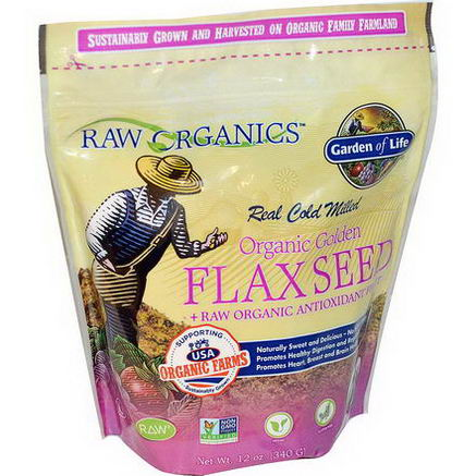 Garden of Life, Organic Golden Flax Seed + Raw Organic Antioxidant Fruit, 12oz (340g)