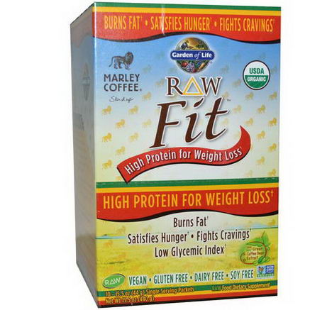 Garden of Life, Organic, RAW Fit, High Protein for Weight Loss, Marley Coffee Flavor, 10 Packets, 15.5oz (44g) Each
