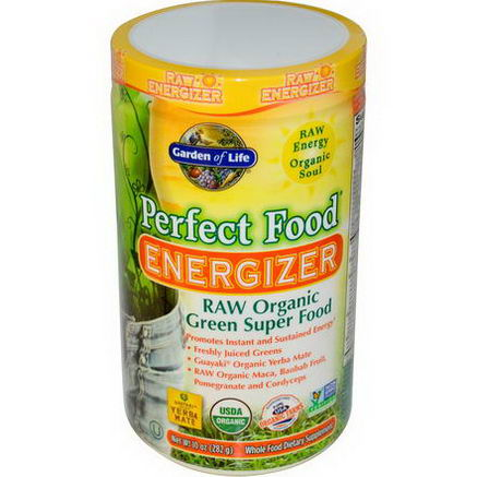 Garden of Life, Perfect Food Energizer, RAW Organic Green Super Food, 10oz (282g)