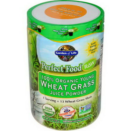 Garden of Life, Perfect Food RAW - 100% Organic Young Wheat Grass Juice Powder, 4.2oz (120g)