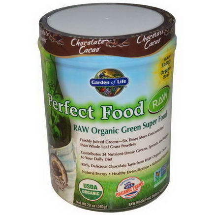 Garden of Life, Perfect Food RAW Organic Green Super Food, Chocolate Cacao, 20oz (570g)