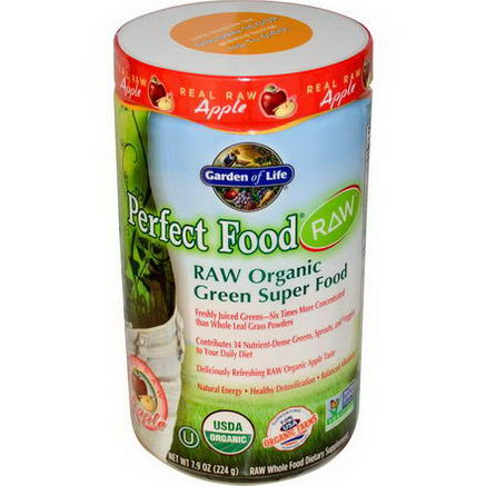 Garden of Life, Perfect Food RAW - Organic Green Super Food, Real Raw Apple Powder, 7.9oz (224)
