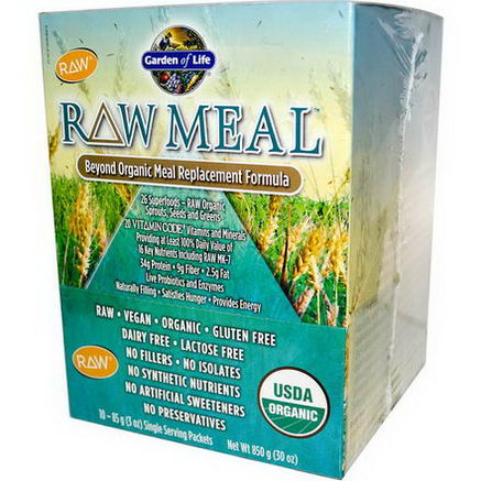 Garden of Life, RAW Meal, Beyond Organic Meal Replacement Formula, 10 Packets, 3oz (85g) Each