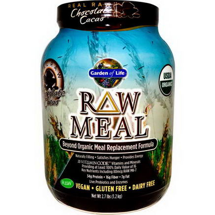 Garden of Life, RAW Meal, Beyond Organic Meal Replacement Formula, Chocolate Cacao, 2.7 lbs (1.2 kg)