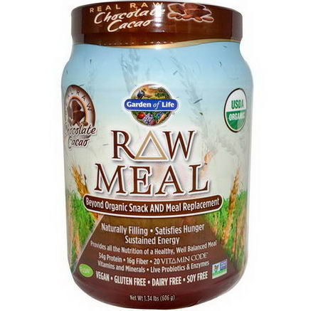 Garden of Life, RAW Meal, Beyond Organic Snack and Meal Replacement, Chocolate Cacao, 1.34 lbs (606g)
