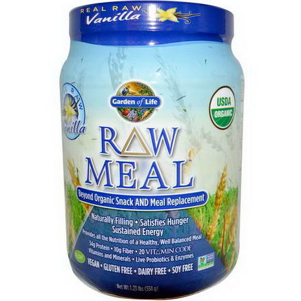 Garden of Life, RAW Meal, Beyond Organic Snack and Meal Replacement, Vanilla, 1.23 lbs (558g)