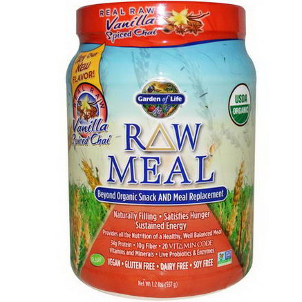 Garden of Life, RAW Meal, Beyond Organic Snack and Meal Replacement, Vanilla Spiced Chai, 1.2 lbs (557g)