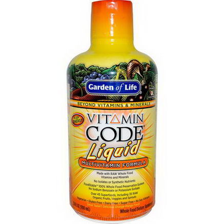 Garden of Life, Vitamin Code Liquid, Multivitamin Formula, Orange-Mango Flavor, 30 fl oz (900 ml)