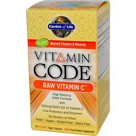 Garden of Life, Vitamin Code, RAW Vitamin C, 60 UltraZorbe Vegan Caps