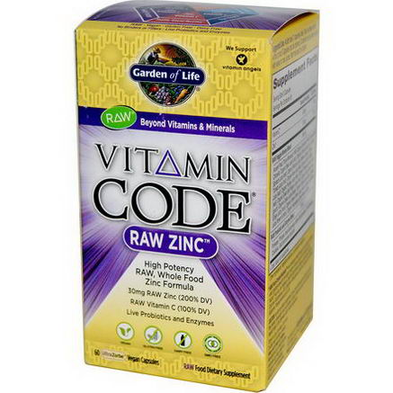 Garden of Life, Vitamin Code, Raw Zinc, 60 Veggie Caps