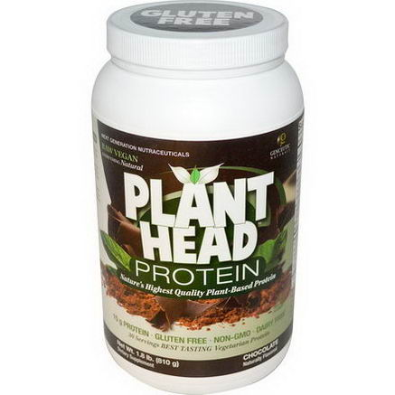 Genceutic Naturals, Plant Head Protein, Chocolate, 1.8 lb (810g)