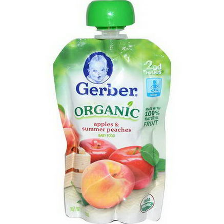 Gerber, 2nd Foods, Organic Baby Food, Apples & Summer Peaches, 3.5oz (99g)