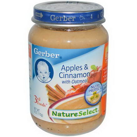Gerber, 3rd Foods, NatureSelect, Apples & Cinnamon with Oatmeal, 6oz (170g)