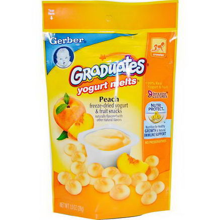 Gerber, Graduates, Yogurt Melts, Peach, 1oz (28g)