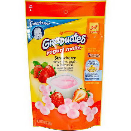 Gerber, Graduates, Yogurt Melts, Strawberry, 1.0oz (28g)