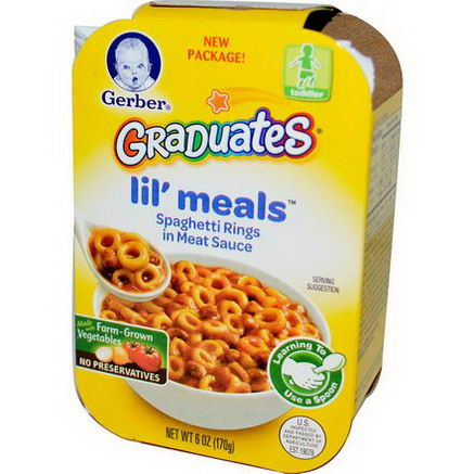 Gerber, Graduates for Toddlers, Lil' Meals, Spaghetti Rings in Meat Sauce, 6oz (170g)