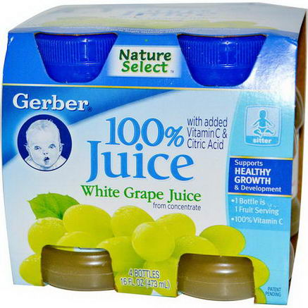 Gerber, NatureSelect, 100% Juice, White Grape, 4 Bottles, 4 fl oz (118 ml) Each