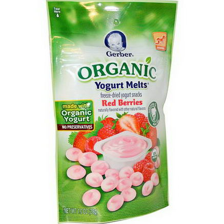 Gerber, Organic Yogurt Melts, Red Berries, 1.0oz (28g)