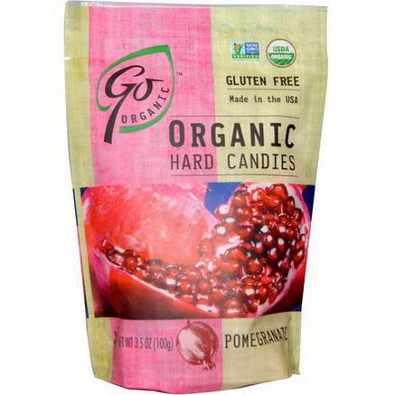 Go Organic, Organic Hard Candies, Pomegranate, 3.5oz (100g)
