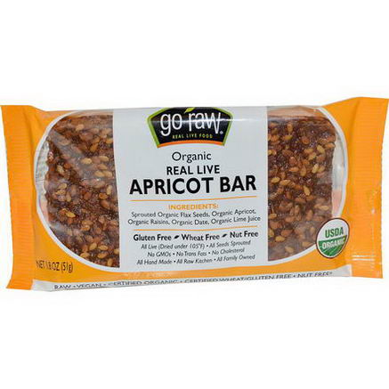 Go Raw, Organic Real Live Apricot Bar, 1.8oz (51g)