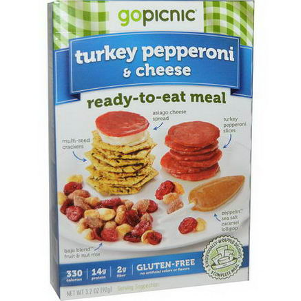 GoPicnic, Ready-To-Eat Meal, Turkey Pepperoni & Cheese, 3.2oz (92g)
