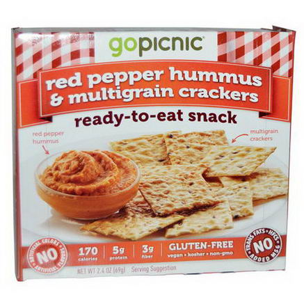 GoPicnic, Ready-to-Eat Snack Kits, Red Pepper Hummus & Multigrain Crackers, 2.4oz (69g)