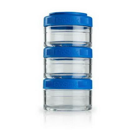 GoStak, Portable Stackable Containers, Blue, 60 cc, 3 Pack