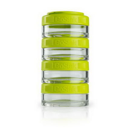 GoStak, Portable Stackable Containers, Green, 40 cc, 4-Pack