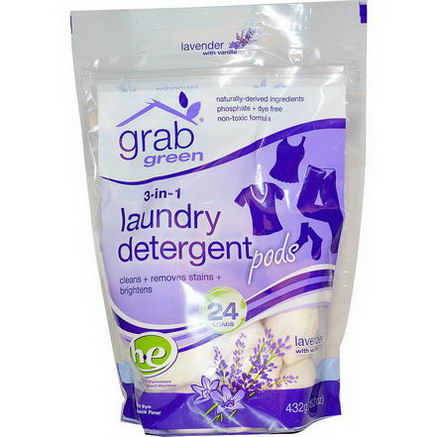 GrabGreen, 3-in-1 Laundry Detergent Pods, Lavender, 24 Loads, 15.2oz (432g)