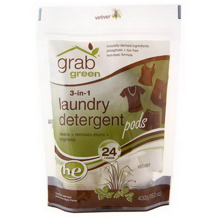 GrabGreen, 3-in-1 Laundry Detergent Pods, Vetiver, 24 Loads, 15.2oz (432g)