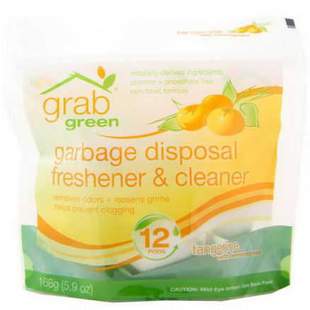 GrabGreen, Garbage Disposal Freshener & Cleaner, Tangerine with Lemongrass, 12 Pods, 5.9oz (168g)