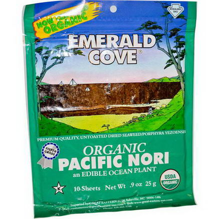 Great Eastern Sun, Emerald Cove, Organic Pacific Nori, 10 Sheets, 0.9oz (25g)