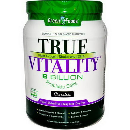 Green Foods Corporation, True Vitality, Plant Protein Shake with DHA, Chocolate, 25.2oz (714g)
