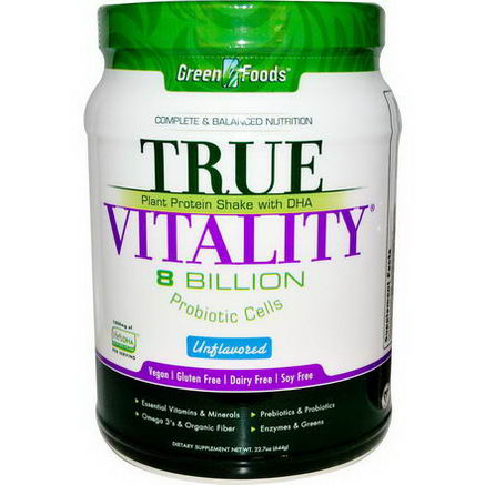 Green Foods Corporation, True Vitality, Plant Protein Shake with DHA, Unflavored, 22.7oz (644g)