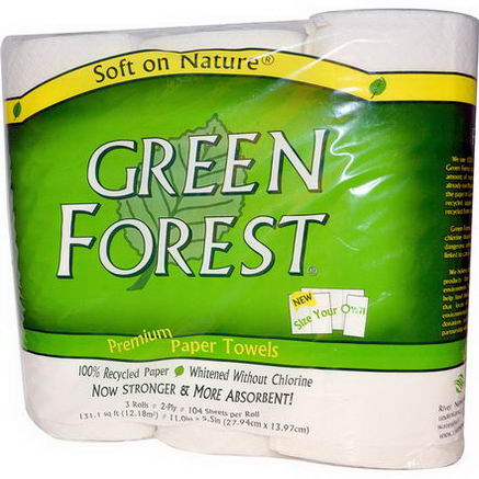 Green Forest, Premium Paper Towels, 2-Ply, 3 Rolls, 11 in x 5.5 in (27.94 cm x 13.97 cm)