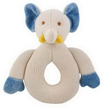Greenpoint Brands, Miyim, Cotton Knit Teether, Blue Elephant, 1 Teether