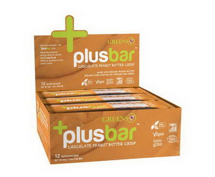 Greens Plus, PlusBar, Chocolate Peanut Butter Chia Crisp, 12 Bars, 1.4oz (40g) Each