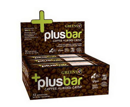 Greens Plus, Plusbar, Coffee Almond Chia Crisp, 12 Nutrition Bars, 1.4oz (40g) Each