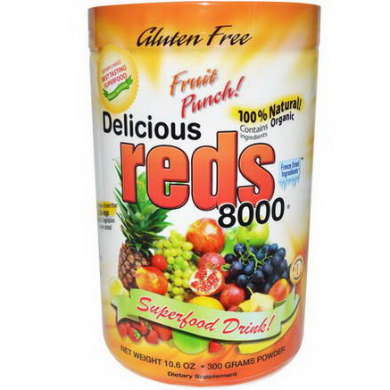 Greens World Inc. Delicious Reds 8000, Fruit Punch, 10.6oz (300g) Powder