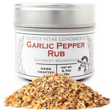 Gustus Vitae, Condiments, Gourmet Seasoning, Garlic Pepper Rub, 2.7oz (76g)