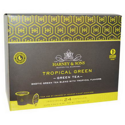 Harney & Sons, Green Tea, Tropical Green, 24 K-Cups, 0.16oz (4.5g) Each