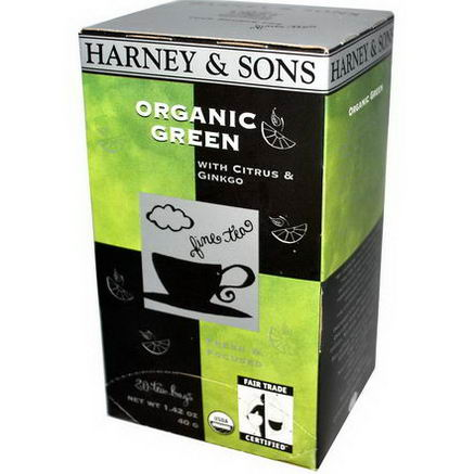 Harney & Sons, Organic Green Tea with Citrus & Ginkgo, 20 Tea Bags, 1.42oz (40g)