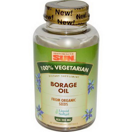 Health From The Sun, 100% Vegetarian Borage Oil, 60 Veggie Softgels