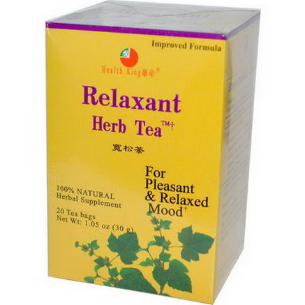 Health King, Relaxant Herb Tea, 20 Tea Bags, 1.05oz (30g)