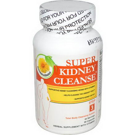 Health Plus Inc. Super Kidney Cleanse, Total Body Cleansing System, Step 3, 90 Capsules